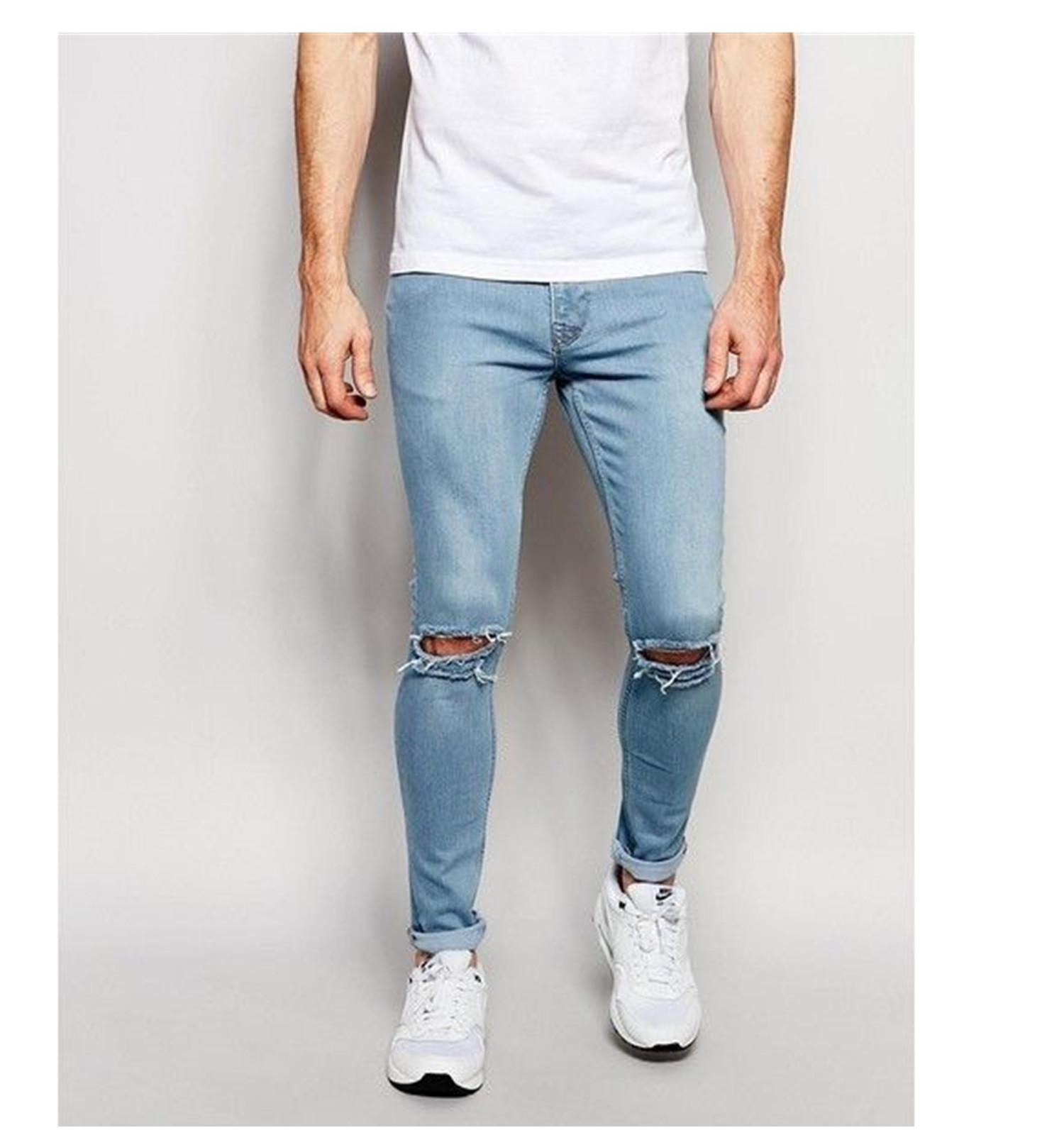 3391f06cbb5 Ripped knee cut penshoppee maong light blue stretchable skinny jeans for  Men's,COD