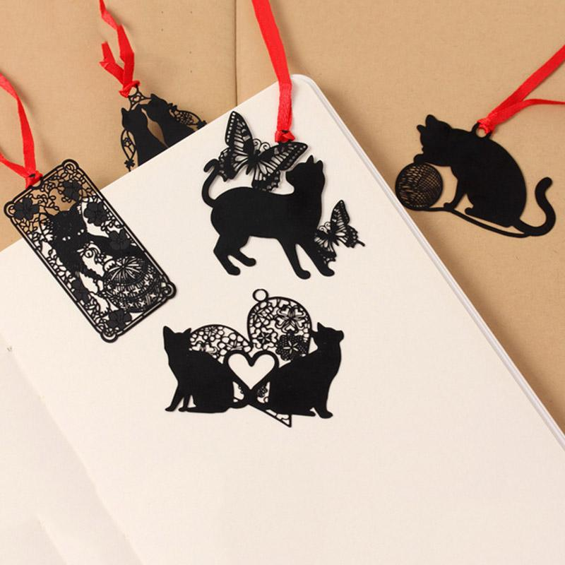South Koreas Creative Students Stationery Black Cat Series Metal Bookmark Sealed Envelope Sign Hollow Out Mini Bookmarks By Rainning.