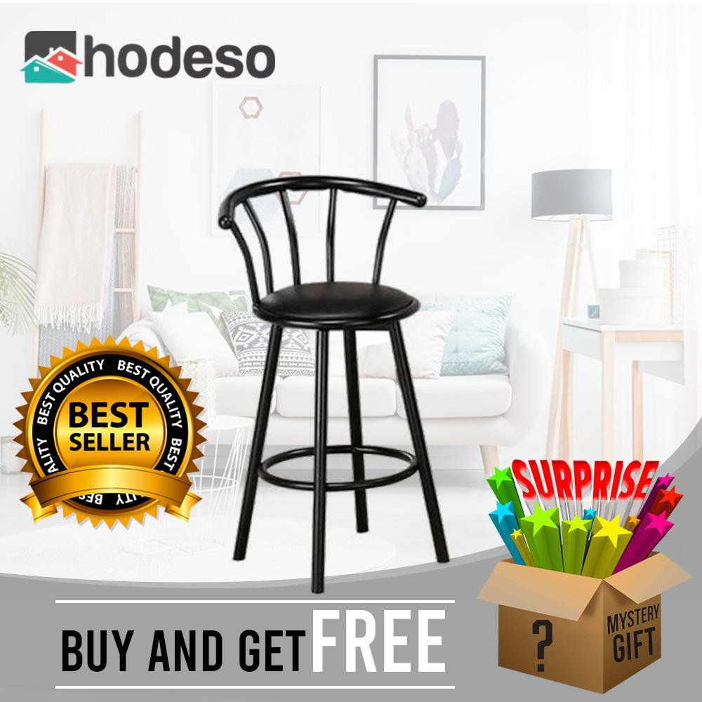 Hodeso Furniture Revolving Bar Stool Crown Back Black Metal Bar stool with  Black Synthetic leather Swivel Seat