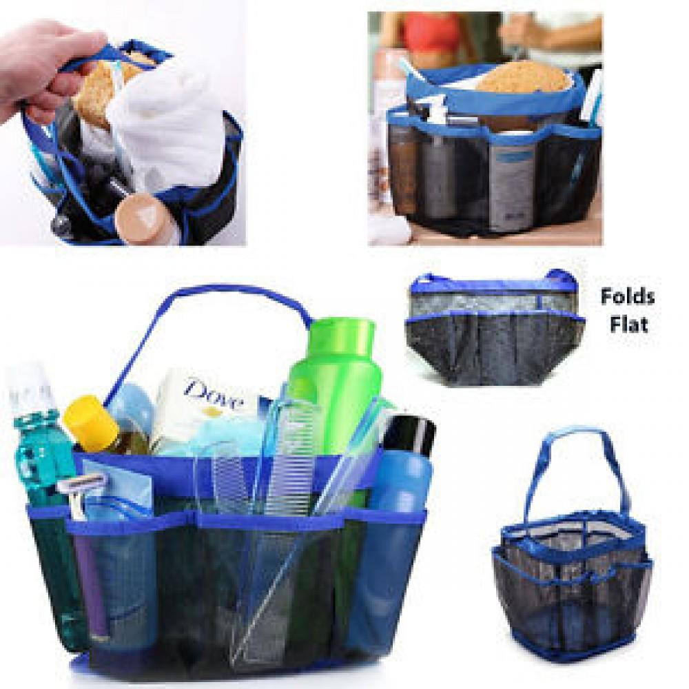 Blue Plastic Tote Caddy Oversized Pockets Hold Many Cleaning Supplies Or Tools