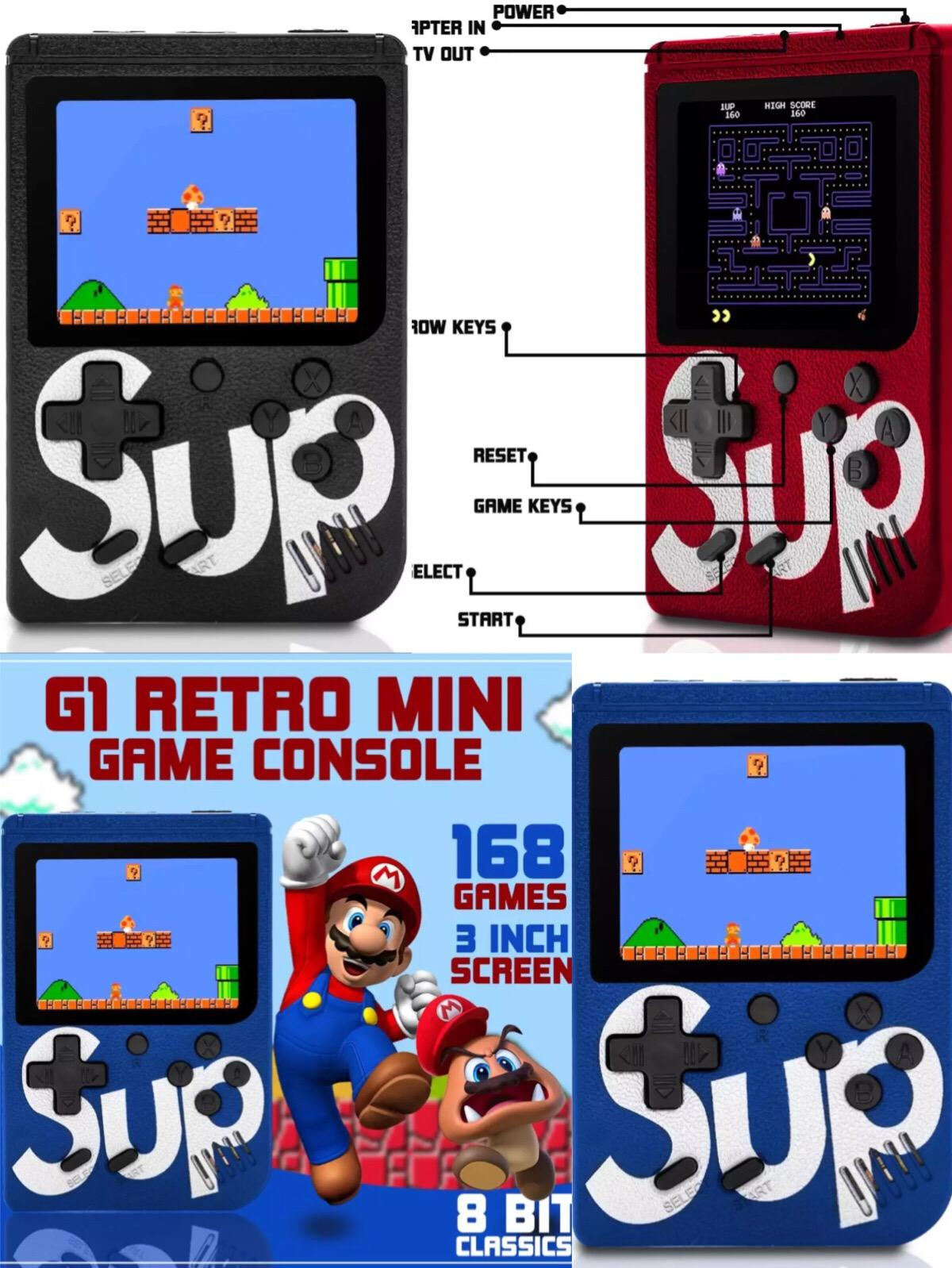 sup LHR G1 Retro FC Mini TV Handheld Game Console 8bit 3'LCD Classic Retro Game Player w/ 168 Games Pocket Consoles Children's Gaming Toy