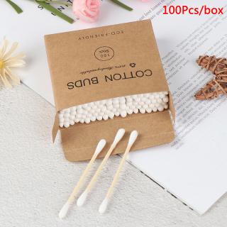 100 Buah Kapas Bambu Kepala Ganda Rias Wajah Kuncup Kayu Stik Pembersih Telinga Hidung thumbnail