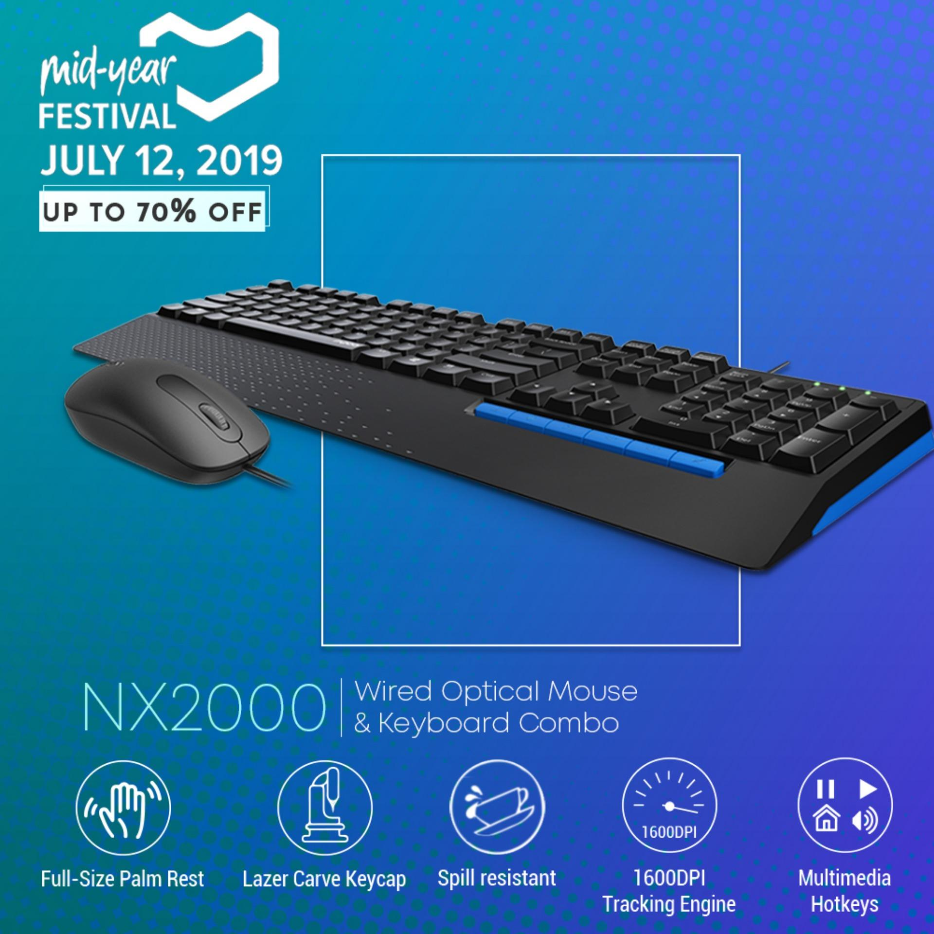 289bf7575b6 Rapoo NX2000 Wired Optical DPI 1600 Mouse and Membrane Multimedia Hot Keys  Keyboard Combo