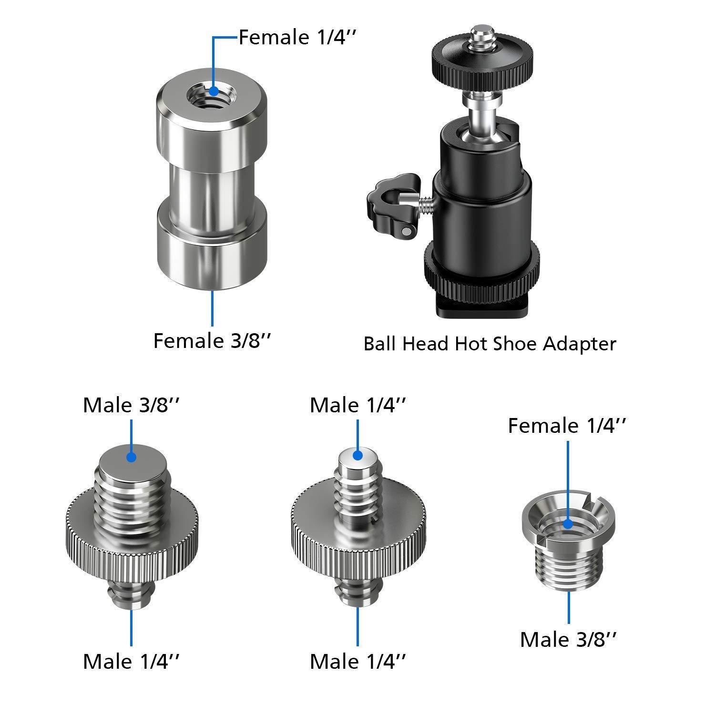 Camera Screw Adapter 1//4 Male to 1//4 Female Screw Adapter for Camera Tripod Bracket Stand