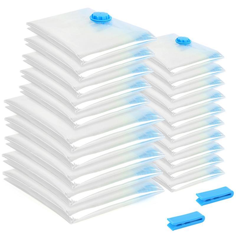 20Pcs/Set Vacuum Bag Foldable Clothes Storage Bag Transparent Border Large Capacity Compressed Home Organizer