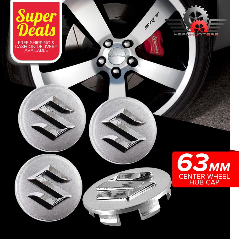 4pcs Suzuki Silver Car Wheel Hub Center Cap - 63mm Outer Diameter & 58mm  Inner Diameter
