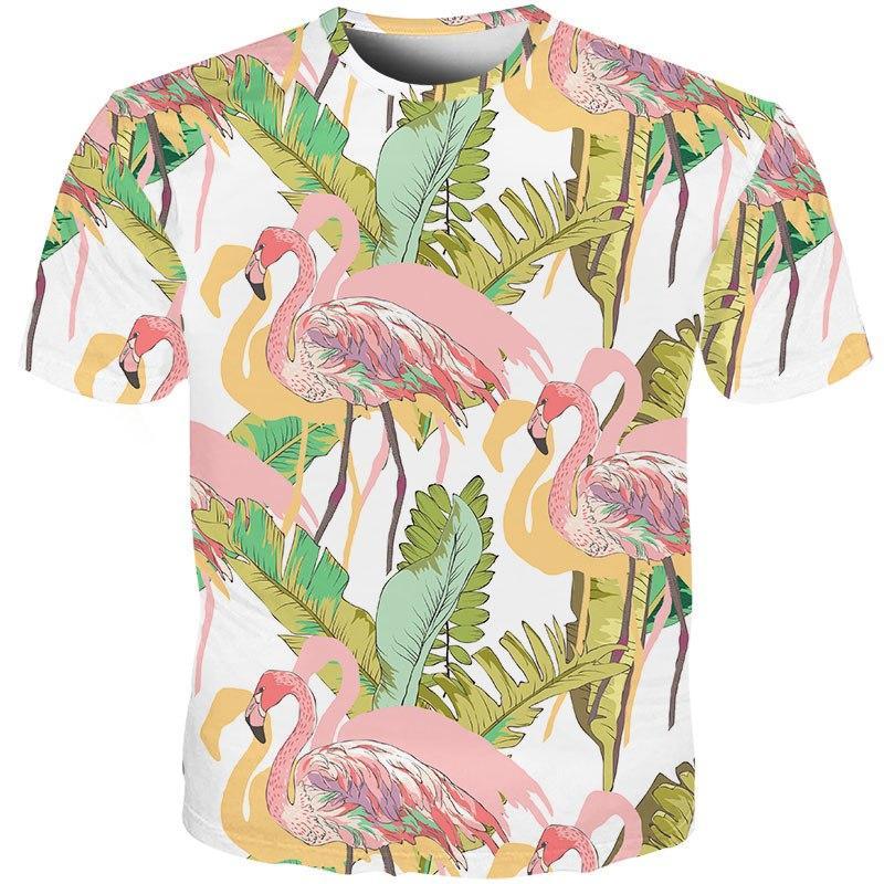 f5e89ba569e Cloudstyle 2019 New Design Unisex T shirt 3D Print Funny Flamingo T-shirt  Big Leaves