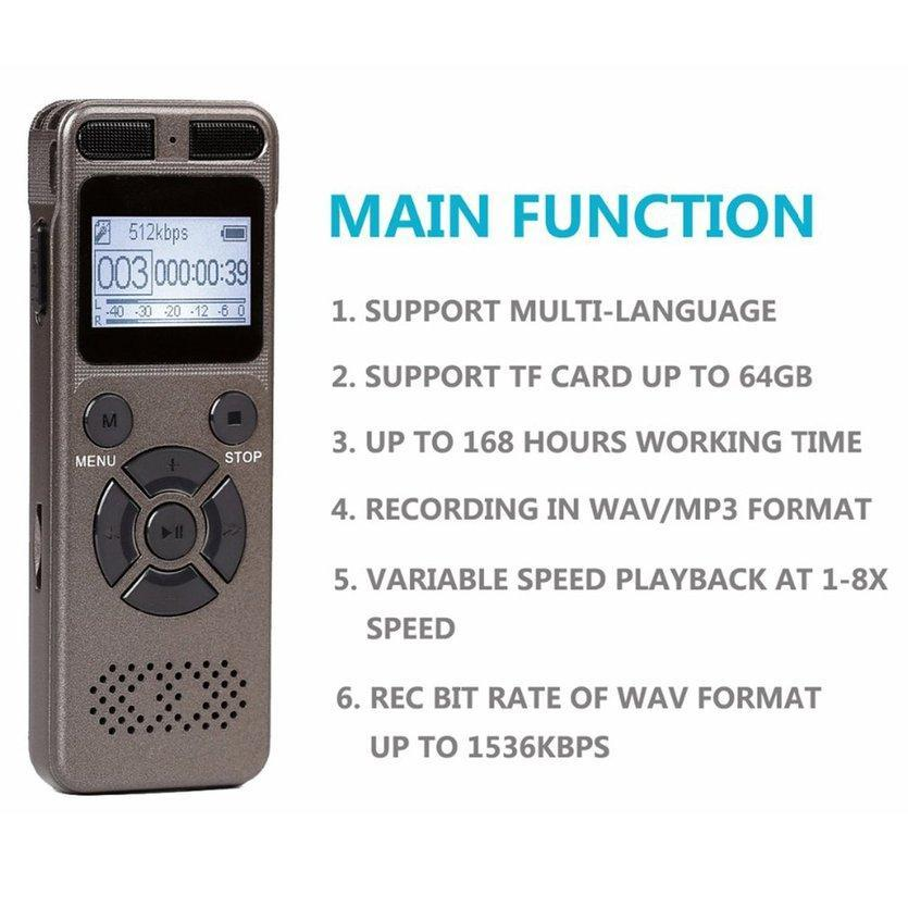 ROVE Portable Mini Digital Voice Recorder With Microphone Maximum 64GB Recording TF Occasion Card Any for WAV Expansion in