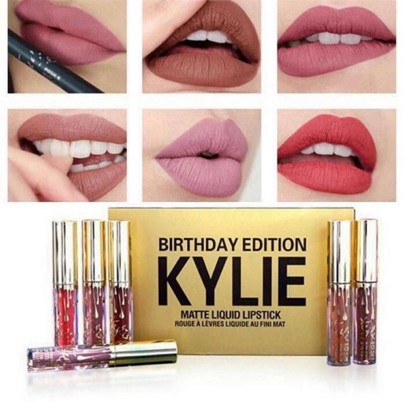 6PCS set KYLIE Lady Makeup Waterproof Liquid Llipstick Pop Matte Lasting Kilie Lip Tint cosmetic Kyliejenner Lipstick set  (Gold) Philippines