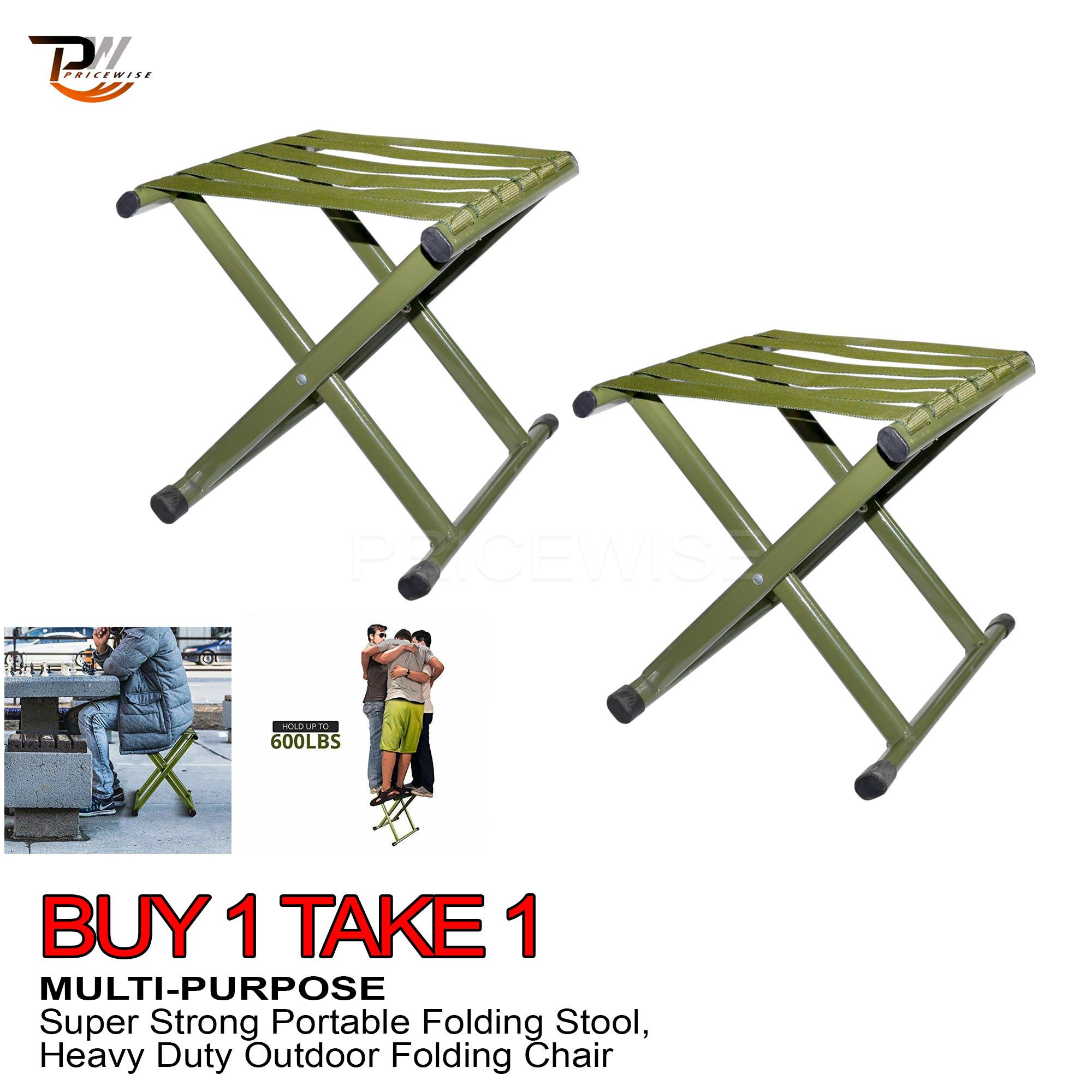 BUY 1 TAKE 1 - New Portable Heavy Duty Outdoor Collapsible Chair Hold Up To  600 LBS