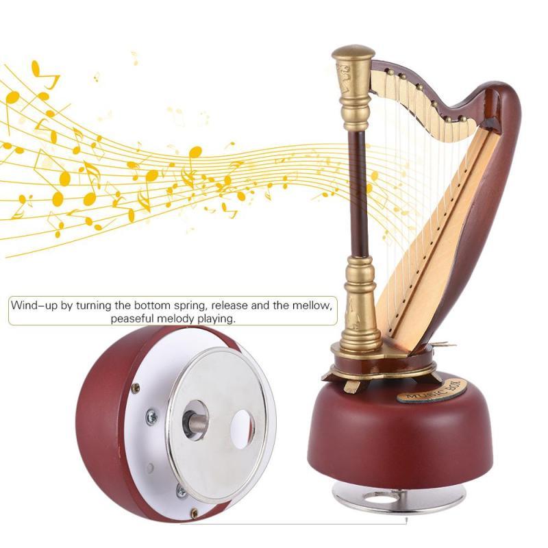 [Ưu Đãi Lớn] Hộp Nhạc Harp Gió Cổ Điển Với Nhạc Cụ Cơ Sở Xoay Quà Tặng Nghệ Thuật Thu Nhỏ
