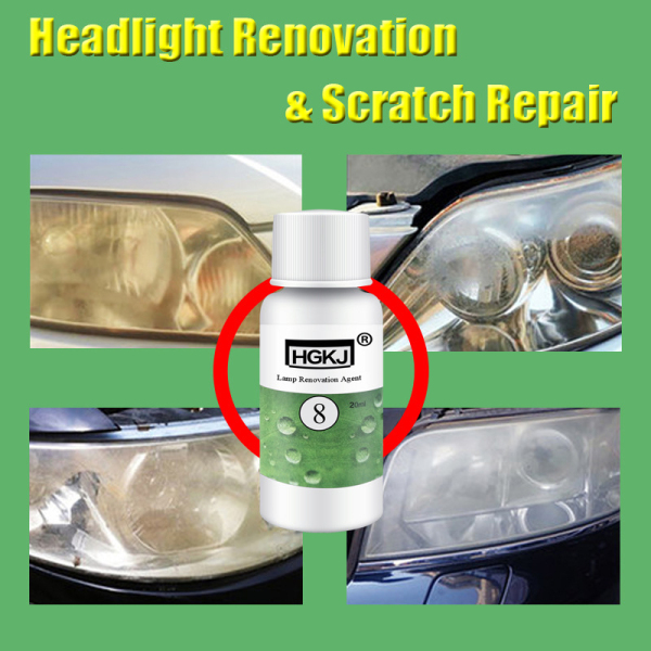 HGKJ 20ML Car Polishing Repair Kit Headlight Agent Bright White Headlight Repair Lamp Transformation Window Glass Cleane