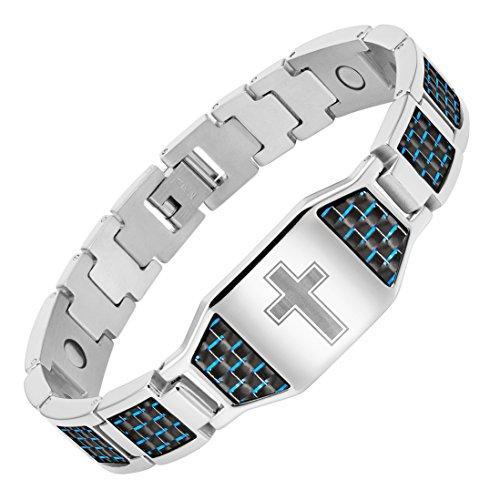 Willis Judd Mens Christian Cross Titanium Magnetic Bracelet With Blue Carbon Fiber By Galleon.ph.