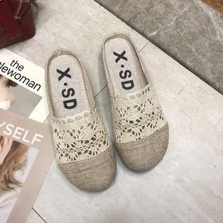 2020 Phiên Bản Hàn Quốc Mẫu Mới Ren Bít Mũi Mặt Lưới Giày Sục Nữ Mùa Hè Xuyên Thấu Vải Lanh Dệt Lười Khoác Ngoài Dép Lê Hè thumbnail