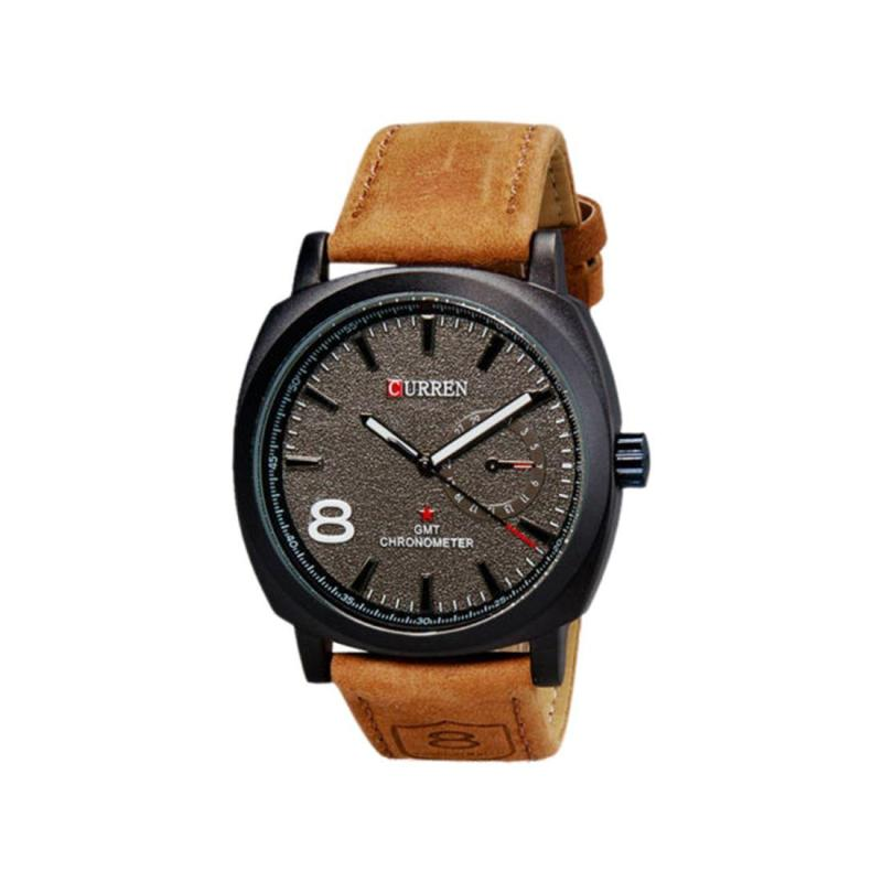Curren Fashion Men Military Leather Strap Wrist Sport Analog Watch Gentleman - Black Malaysia