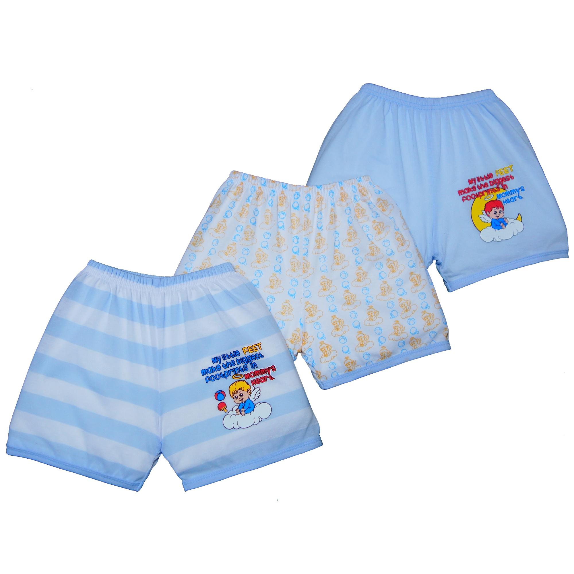 Froshie 3-Piece Baby Cotton Shorts (my Little Feet Make The Biggest Footprints In Mommys Heart - Boys) By Froshie.
