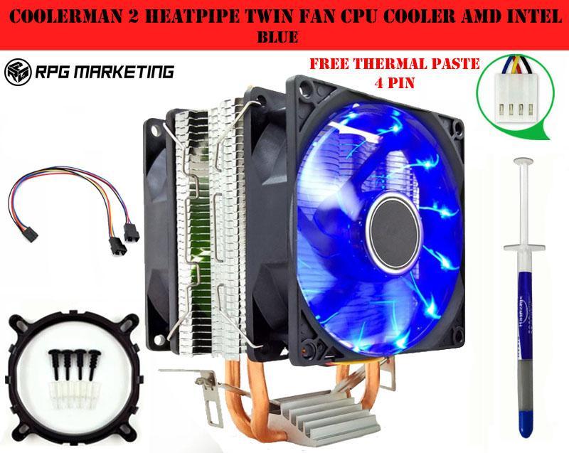 Coolerman 2heatpipe Twin fan CPU Cooler Amd Intel