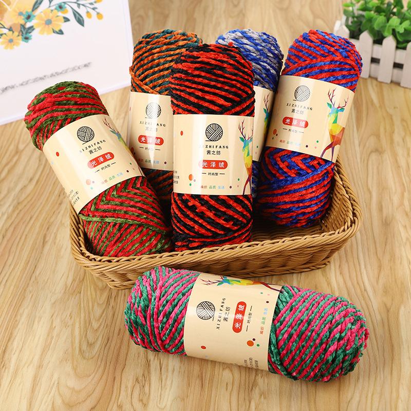 1Roll Sợi chỉ bông đầy màu sắc sáng tạo cho mũ khăn dệt kim len Chenille Sợi mềm tự làm thủ công len móc thủ công phụ kiện