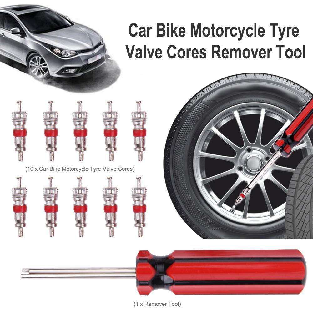 Motorcity 10pcs Tyre Valve Cores W/ Remover Tool For Schrader Car Bike Motorcycle By Motorcity.