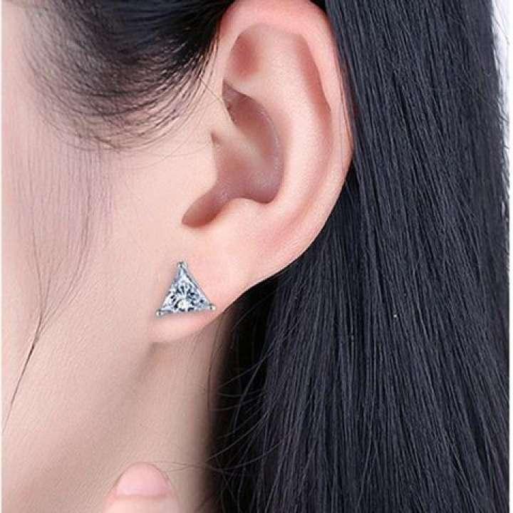 S925 Sterling Silver Simple Triangle Earrings Female Elegant Cool Diamond Set Petite Earrings Korean Style Zircon Earring Gift Lazada
