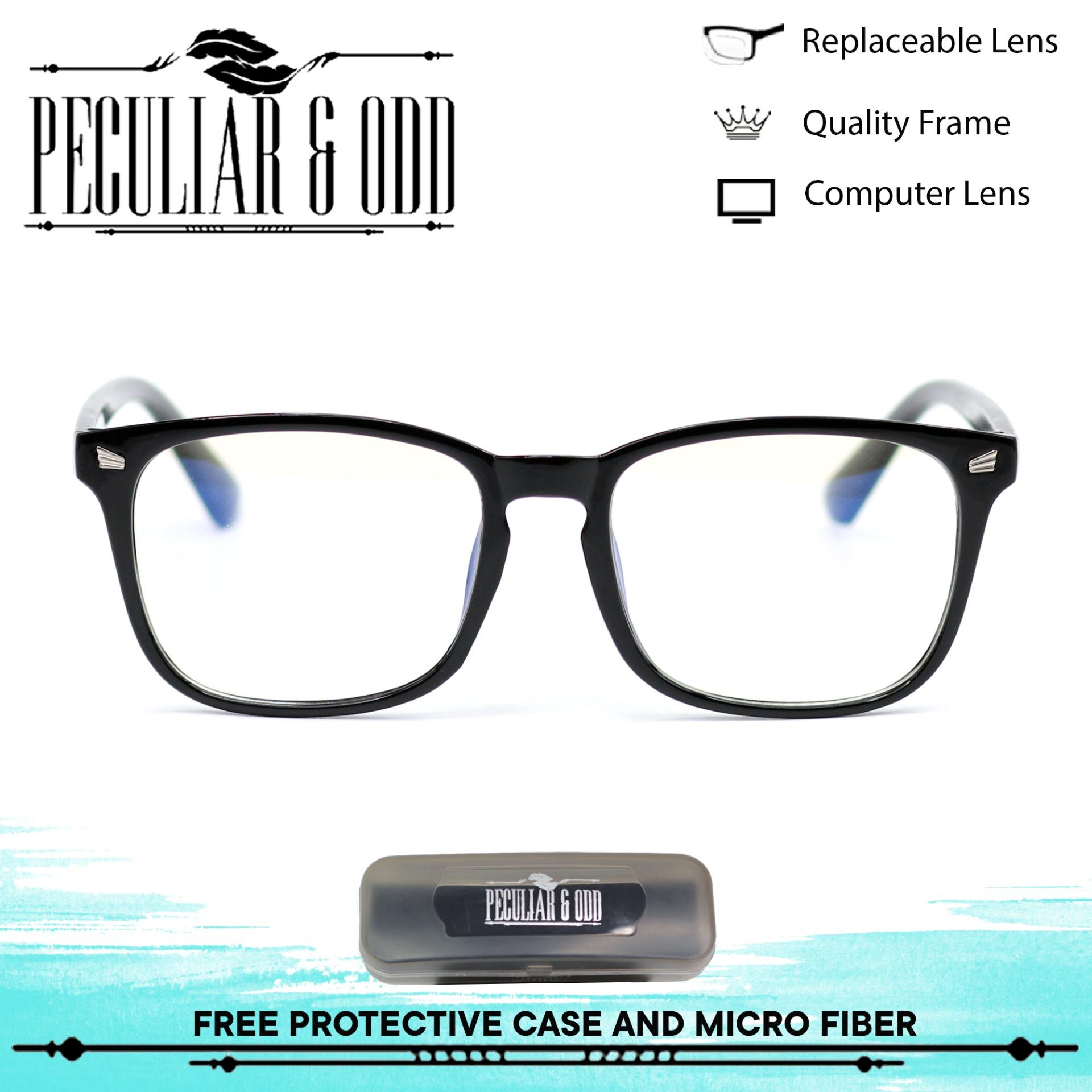 cbcffdf79c Peculiar Optical Square 15969 SanBlack Anti Radiation Blue Lens Computer  Eyeglass Replaceable Lenses Unisex Eyewear