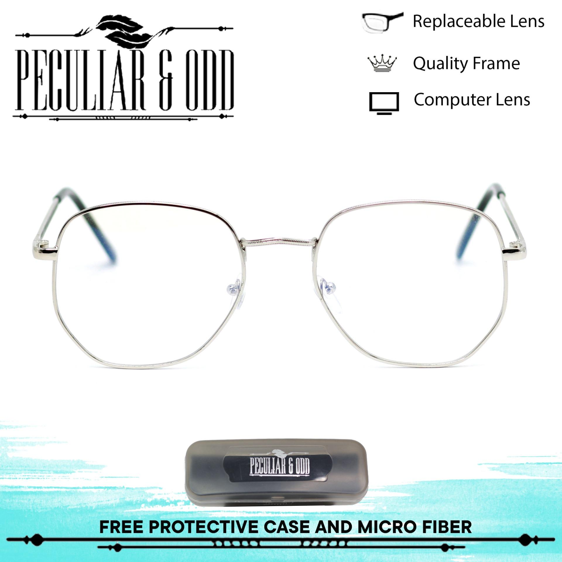 d0ce0d04432 Peculiar Square 3449 SilverClear Anti Radiation Clear Blue Lens Computer  Eyeglass in Silver Metal Frame with Optical