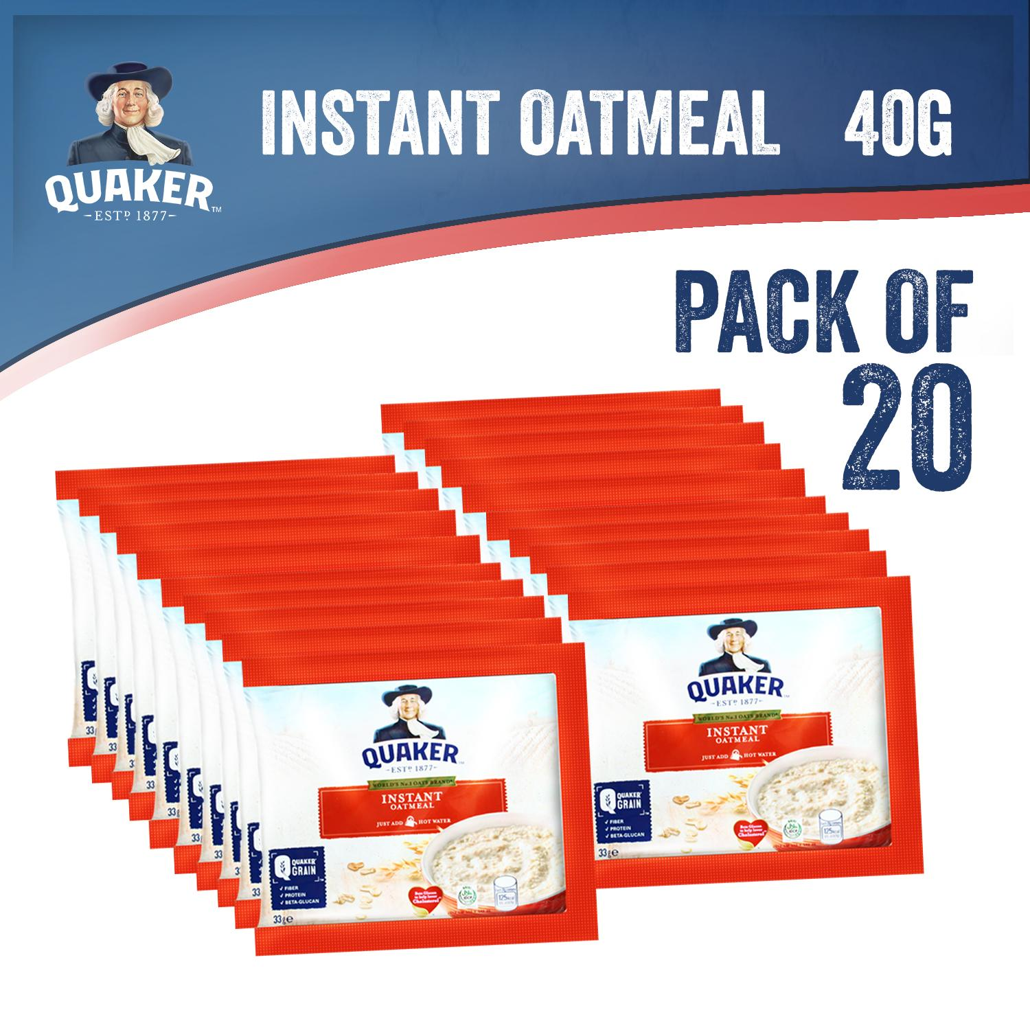 Quaker Instant Oatmeal Original Pack Of 20 (33g) By Quaker.