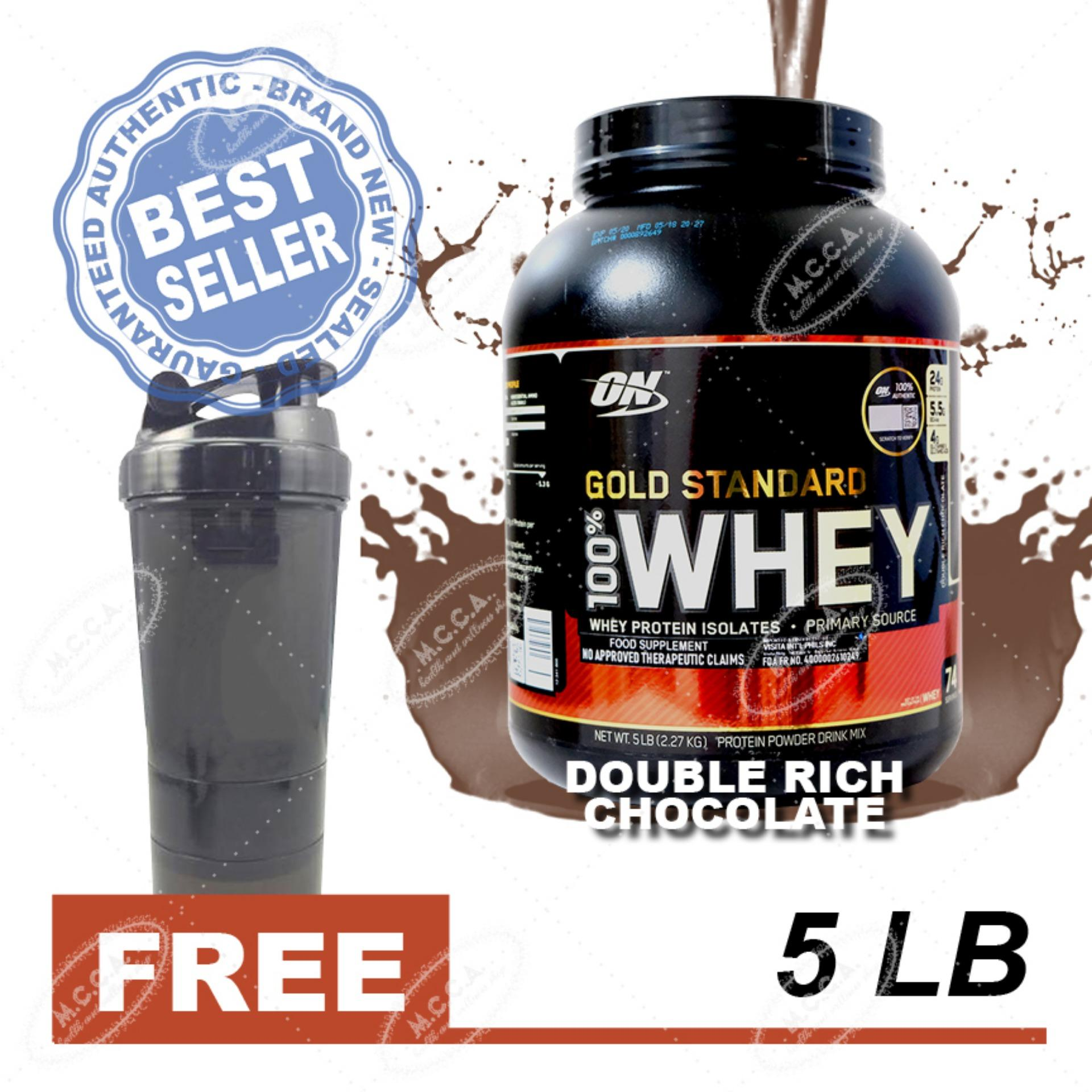 Optimum Nutrition Gold Standard 100% Whey - 5lbs - Double Chocolate with Free Shaker