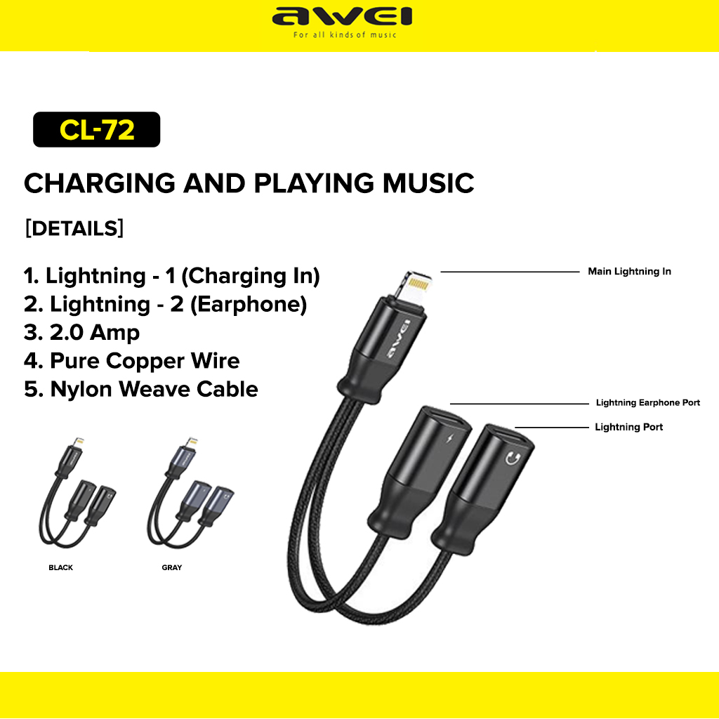 Awei CL-72 Adapter for Lightning and Music 3.5mm Jack For IOS Cellphones and Smartphones | Lazada PH
