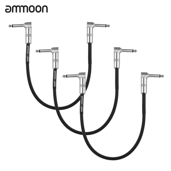 ammoon 3-Pack Guitar Effect Pedal Instrument Patch Cable 30cm/ 1.0ft Long with 1/4 Inch 6.35mm Silver Right Angle Plug Black PVC Jacket Malaysia
