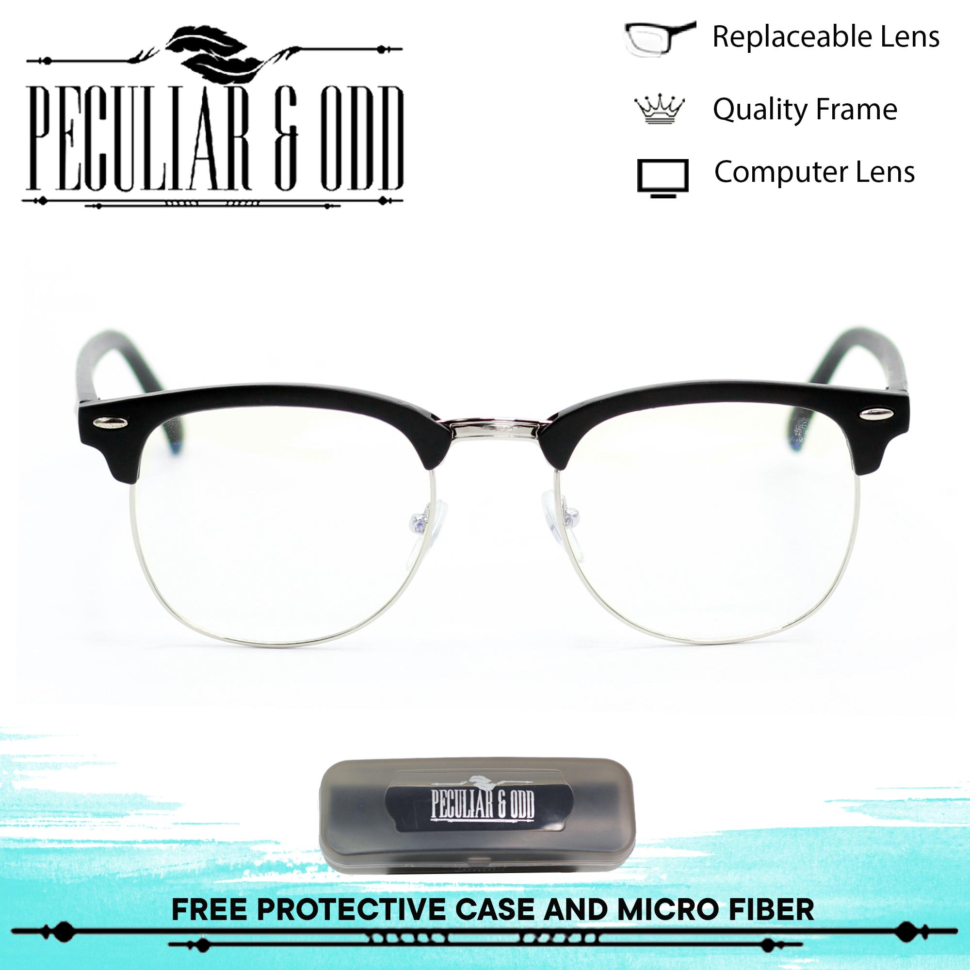 7064e5a9f39 Peculiar Anti-Radiation Blue Lens Premium Metal Frame Optical 1365 Coal  with Half Silver Rim Gaming