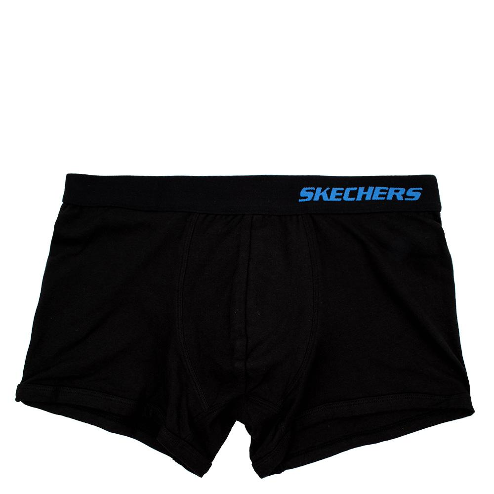 Skechers Underwear Boxer Briefblk Mens Cotton Spandex Boxer (black/black) By Skechers Underwear.