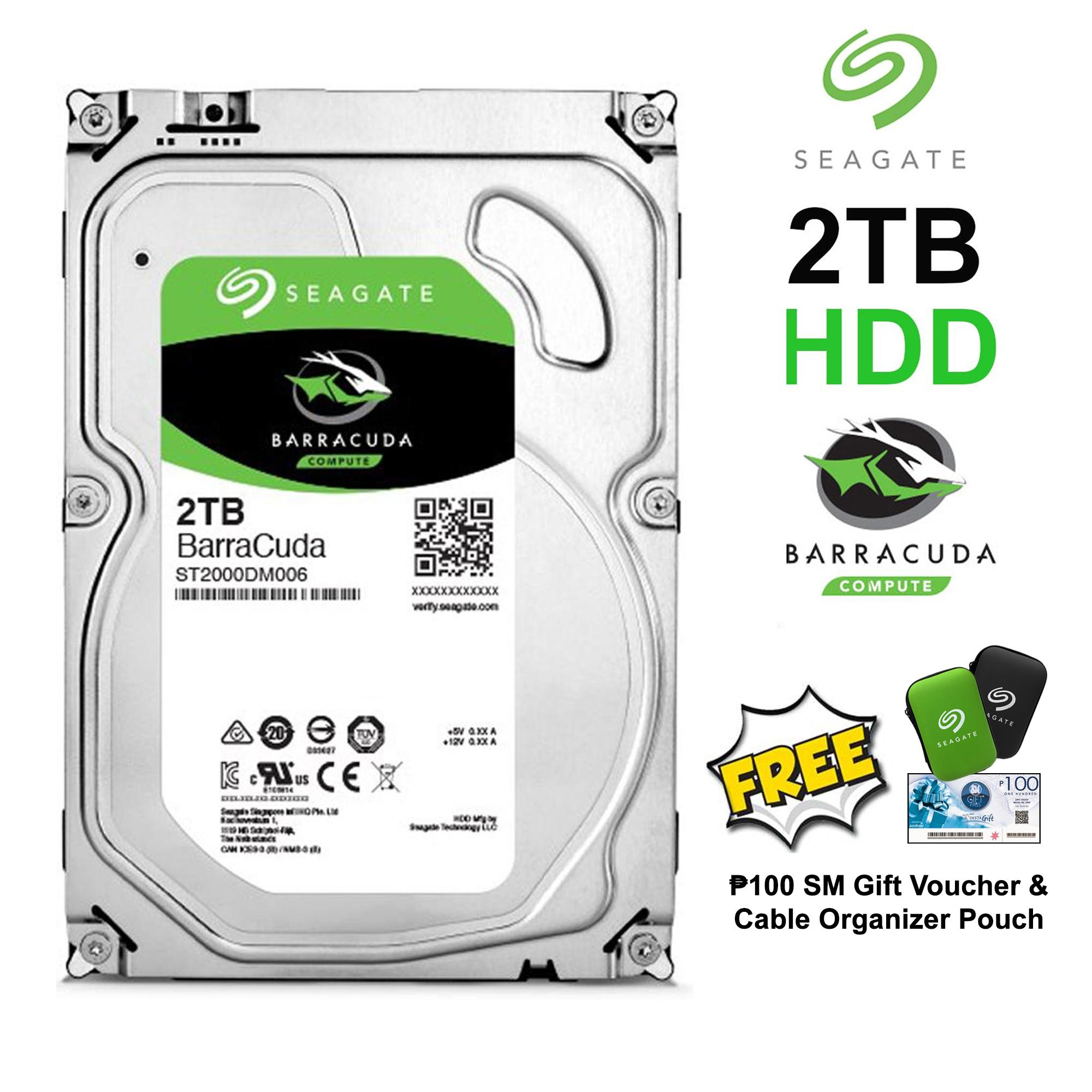 Seagate 2TB BarraCuda SATA 6Gb/s 64MB Cache 3 5-Inch Internal Hard Drive  for Desktop (ST2000DM006) with FREE Php 100 SM Gift Voucher & Cable  Organizer