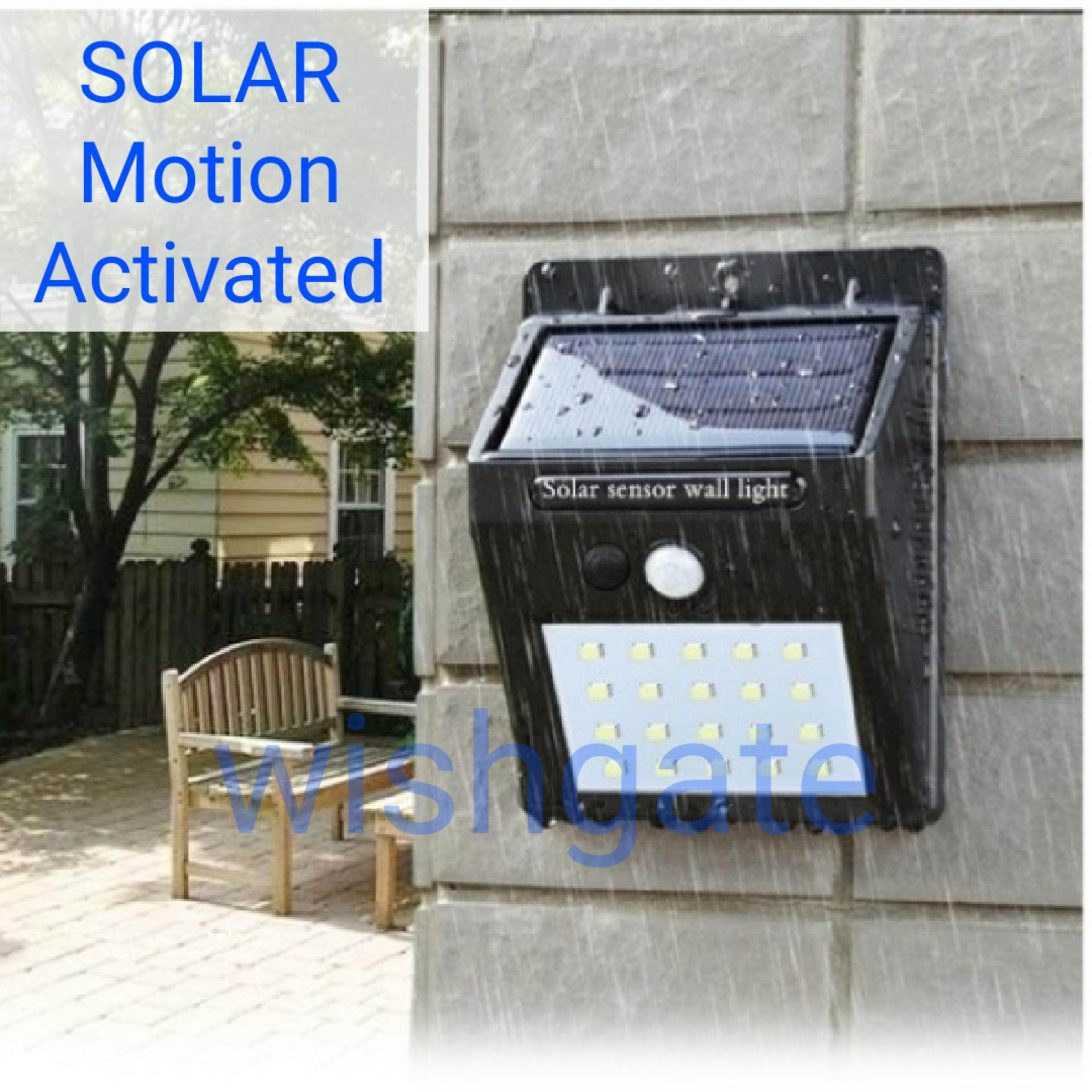 Philippines. WISHGATE Solar Wall Light Outdoor Waterproof 20 LED PIR Motion Sensor - Great for patios,
