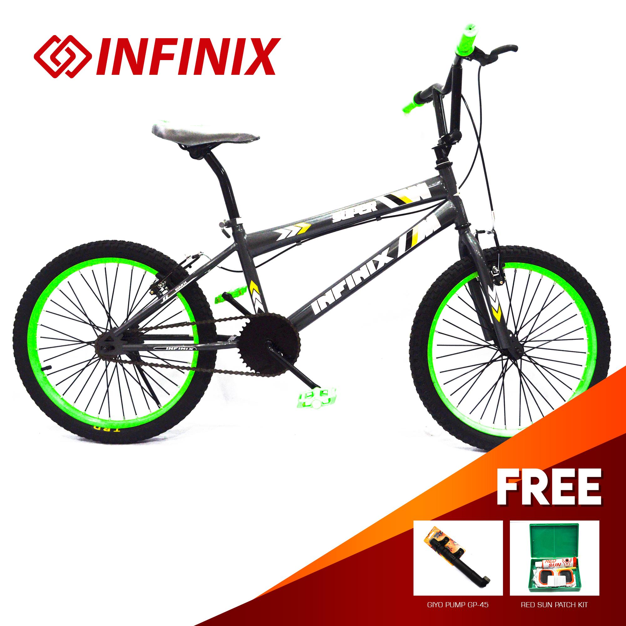 Super Infinix bicycle BMX 20 v-brakes Grey WITH FREE TIRE PATCH AND GIYO  PUMP 45
