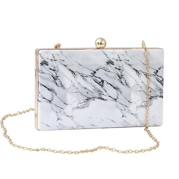 New Bag Marble Print Evening Clutch Bags Women Shoulder Bag Vintage Elegant Lady Party Wedding Cute Purses Handbags