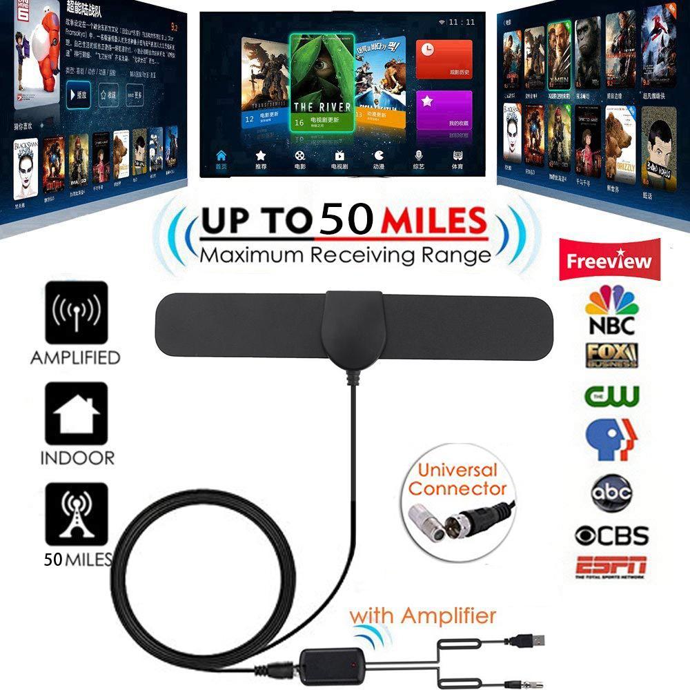 Esogoal แอมพลิฟายด์เสาอากาศทีวีดิจิตอล Hd ยาว 50 ไมล์รองรับทีวี 1080p ในร่มที่มีประสิทธิภาพ Hdtv เครื่องขยายสัญญาณแอมป์ - 4 ม. เคเบิ้ล Amplified Hd Digital Tv Antenna By Esogoal.