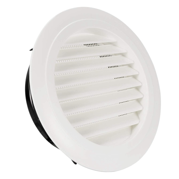 8 Inch Round Air Vent ABS Louver Grille Cover White Soffit Vent with Built-In Fly Screen Mesh for Bathroom Office Kitchen Ventilation
