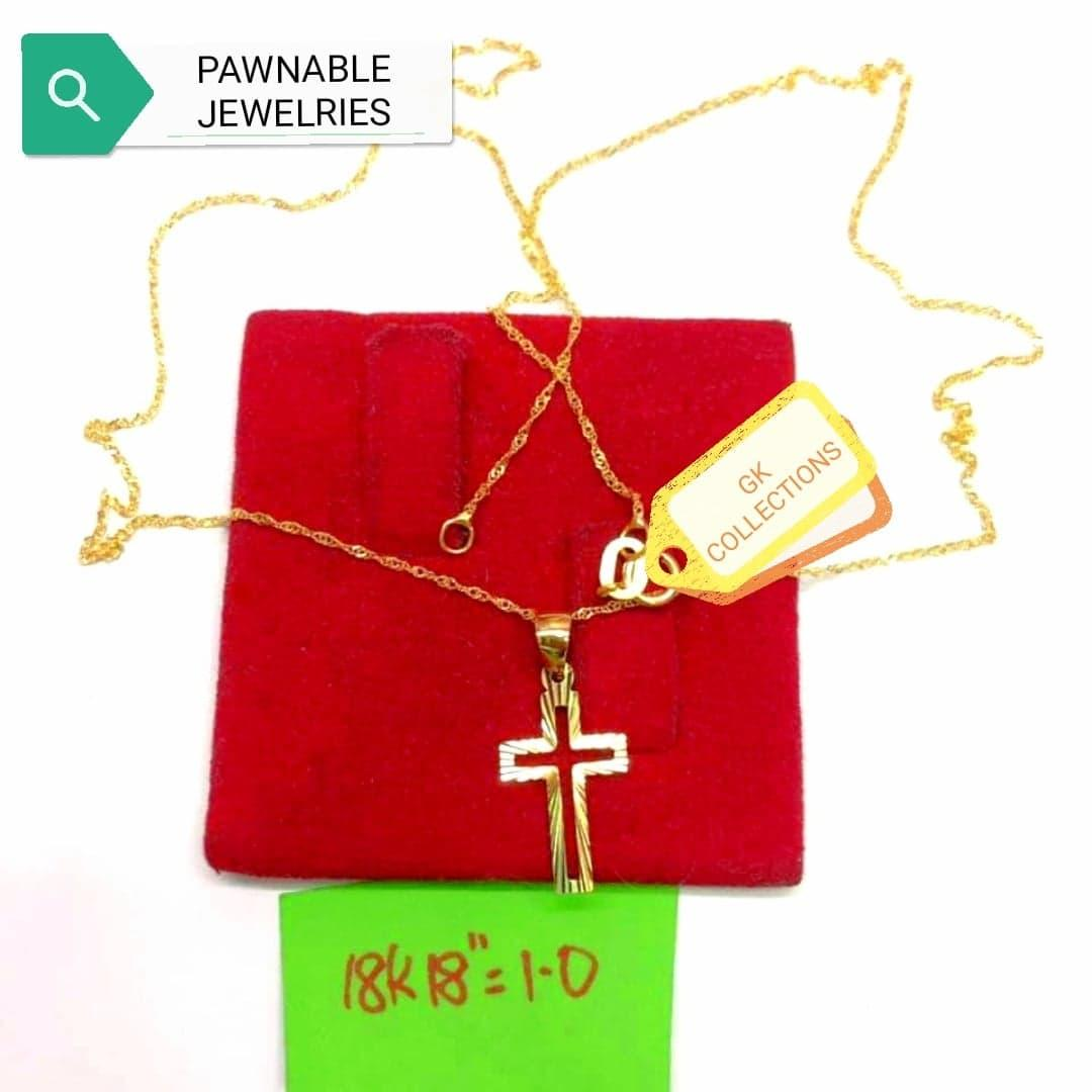PURE GOLD JEWELRY 18k SAUDI GOLD NECKLACE WITH PENDANT 1 0GRAM AUTHENTIC  JEWELRY,GENUINE GOLD,comes with free box gold jewelry for women pawnable