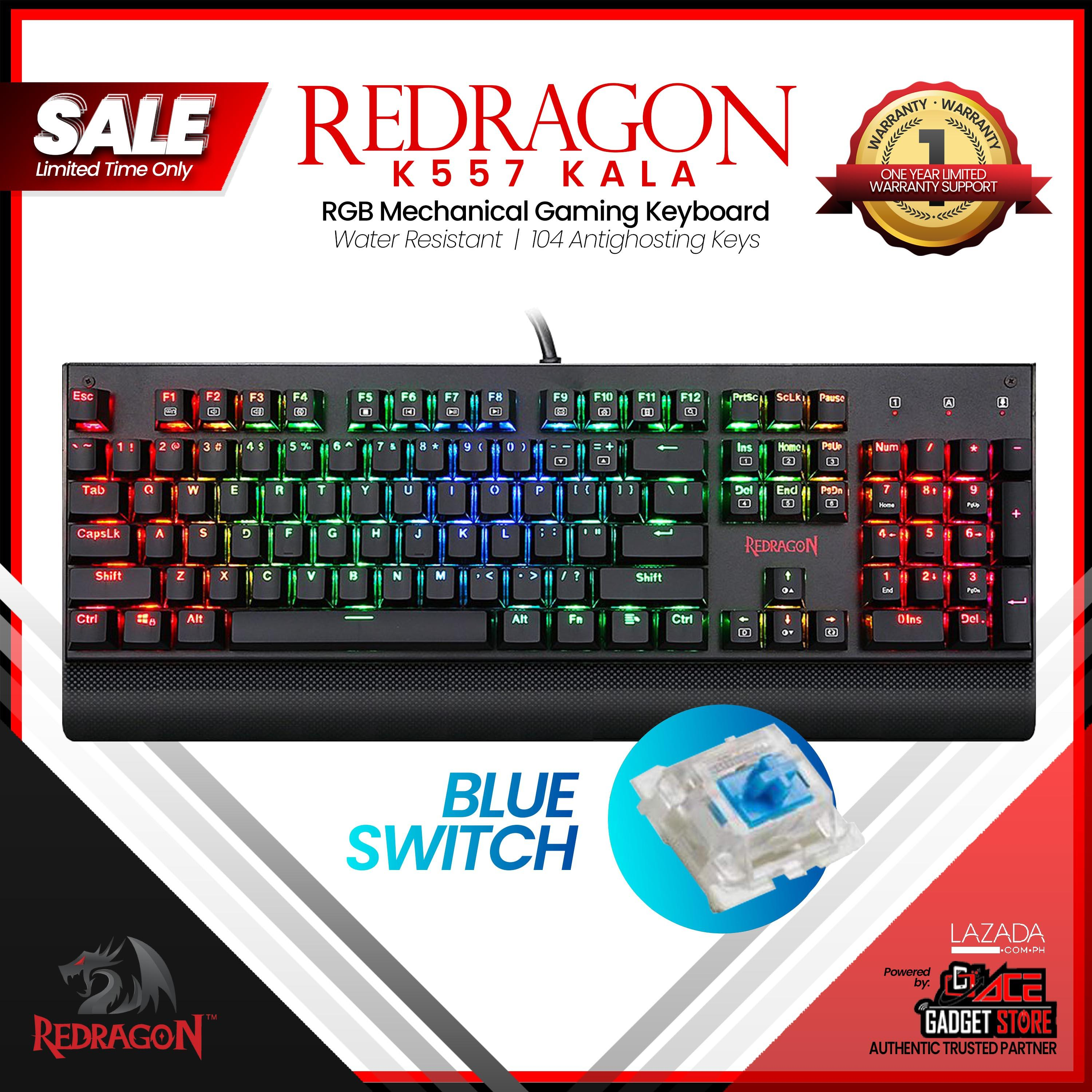 Redragon K557 Kala RGB Backlit Waterproof Mechanical Gaming Keyboard with  Blue or Red Switches, Anti-ghosting 104 Keys