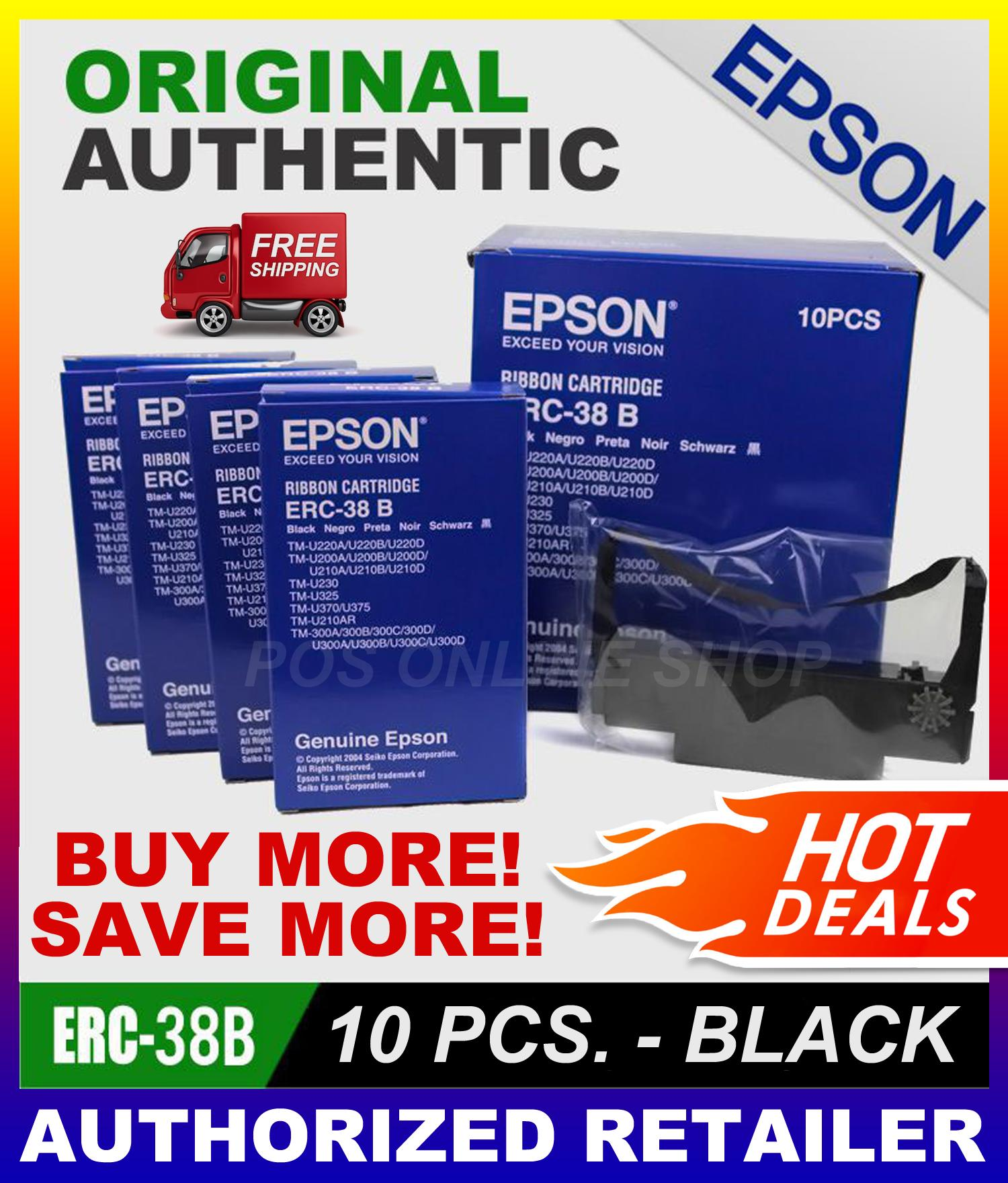 Epson ERC-38 B Ribbon Cartridge (10 PCS ) ORIGINAL AUTHENTIC ERC-38 (FREE  SHIPPING FOR 2 ORDERS AND ABOVE) NCR & LUZON AREAS