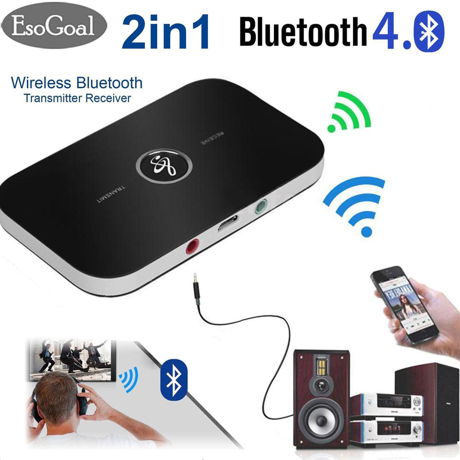 EsoGoal 2 in 1 Bluetooth Transmitter and Receiver Bluetooth Adapter  Wireless Transmitter Receiver Wireless A2DP Bluetooth Stereo Audio Adapter