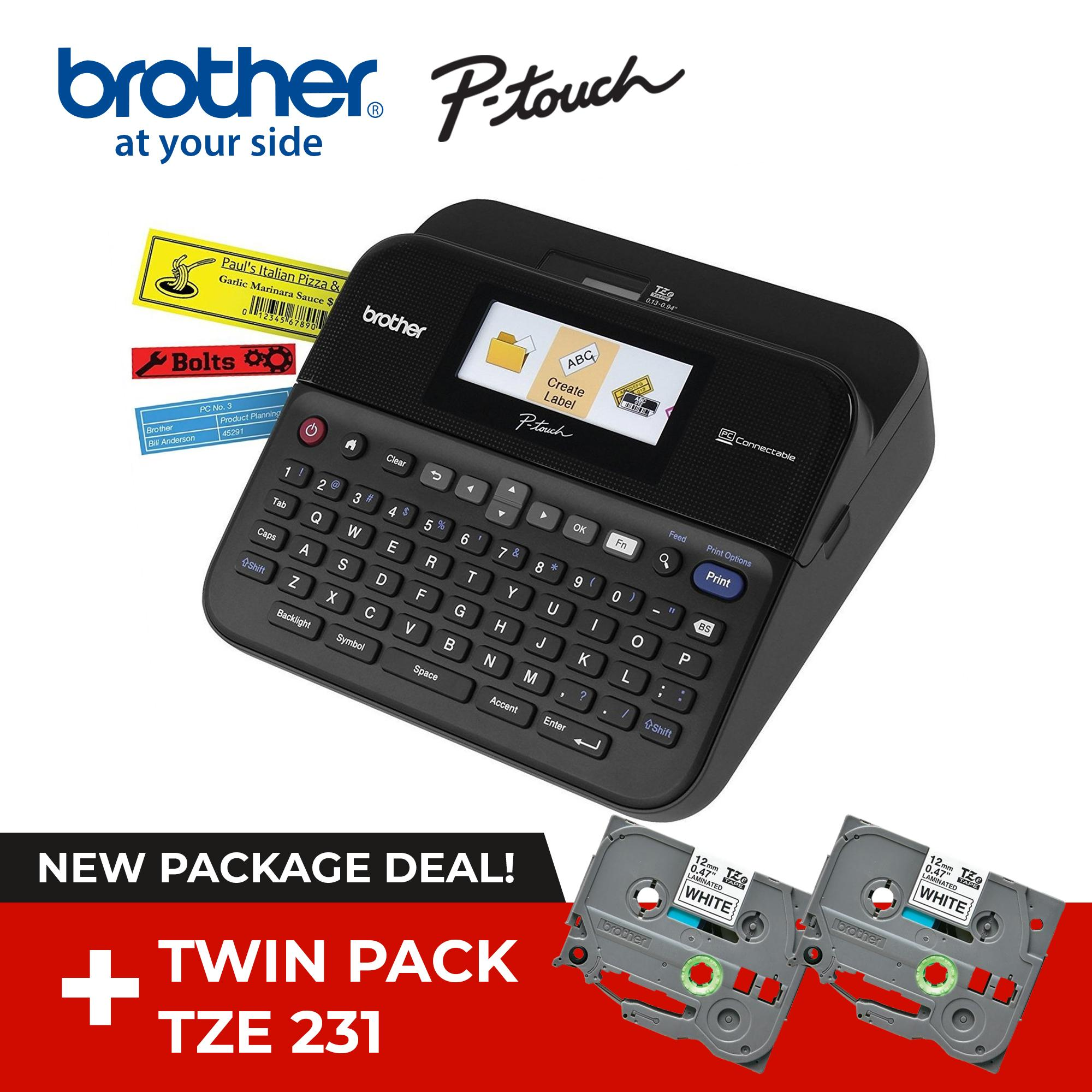 Brother PT-D600 Label Maker with Twin Pack TZE 231