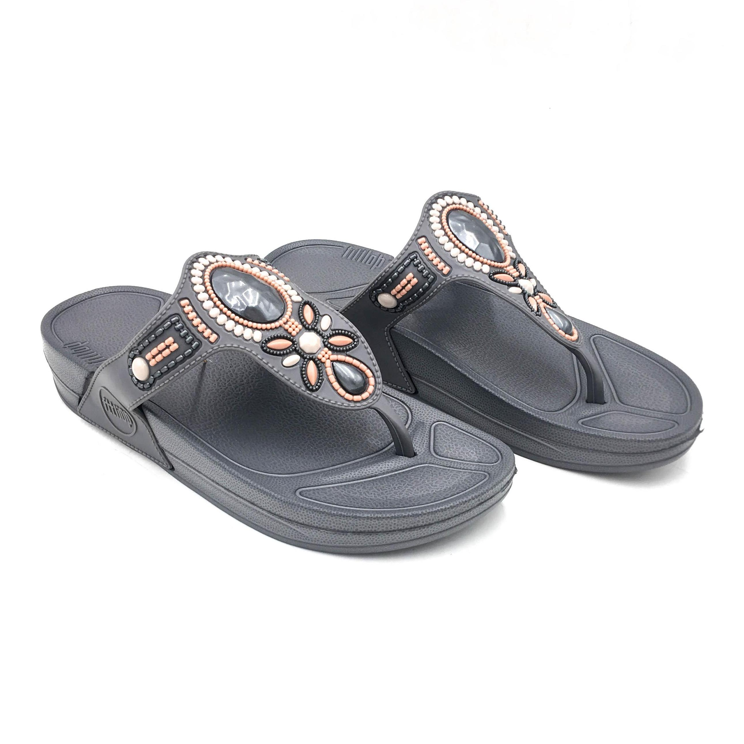 ladies jelly style flip flops with flower and diamate trim size 4 NEW