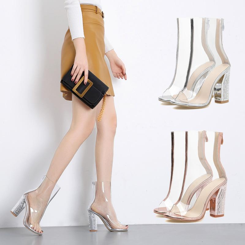 51596c3c3a8 Western Style Summer Fish Mouth High Heel Shoes Zipper Boots n Transparent  shui jing gen