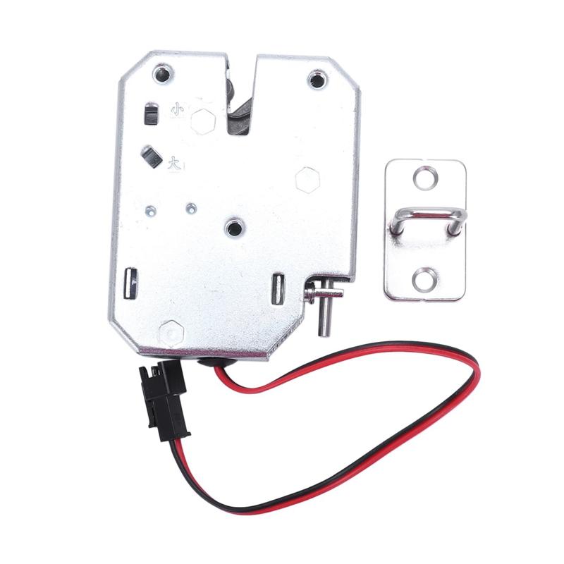 Electric Control Lock DC 12V 2A Electromagnetic Door Lock Cabinet Drawer Lockers Lock Latch Carbon Steel Silver Padlock