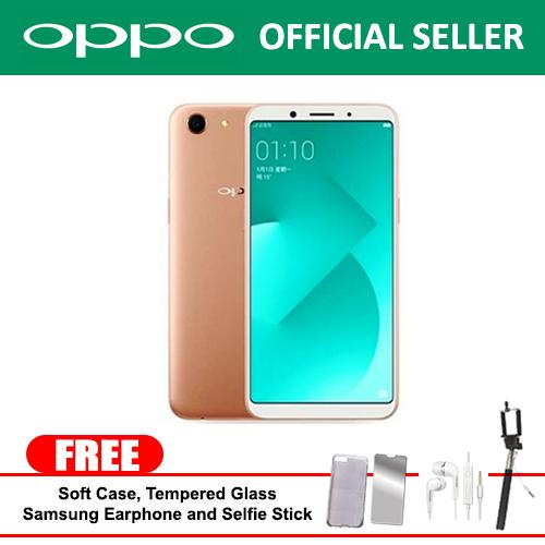 "Oppo A83 2018 3gb/32gb 5.7"" (Gold) Mobile Phone  With Free Soft Case and Tempered Glass with Free Samsung Earphone and Selfie Stick"