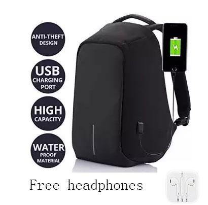 Unisex Anti-Theft Waterproof Backpack USB Port XD Bobby Camera Laptop School Bag