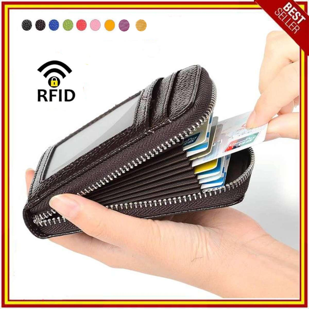 RFID Blocking Genuine Leather Credit Card Case Holder Security Travel  Wallet Front Pocket Wallets for Men 0e4dd29abb7a1