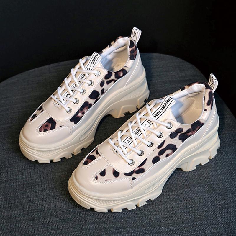 da47bdd18 Leopord Pattern OLdPAPA Shoes women Korean Style Ulzzang Harajuku Versatile  White Shoes 2019 New Style INS